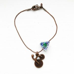 Vintage whimsical copper tricycle charm bracelet